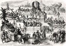 TORINO: CARNEVALE 1859. Grande Veduta. Costumi, Carri e Maschere. Stampa Antica