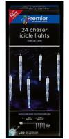 Festive Xmas Lights 24 Chaser Icicles 72 Blue LEDs - In & Outdoor Christmas