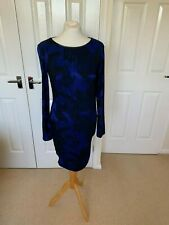 Reiss Blue/Black Bodycon Dress long sleeve Size 10 - very good condition