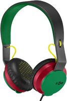 House of Marley Roar On-Ear Rasta Wired Headphones with 1 Button Microphone