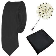 Black White Polka Dot Tie Set, Lapel Pin & Pocket Square Gift mens handkerchief