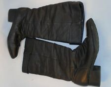 Basic Editions Womens Size 8.5 black Leather Pull-on knee high low heel boots