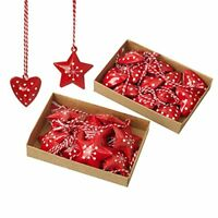 Pack of 24 Metal Star & Heart Nordic/Scandi Style Christmas Tree Decorations