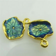 (98547-5X) Gold Alloy Cloisonne Enamel Blue Leaf Plants Pendant Jewelry Findings