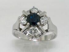 Saphir Ring 585 Weißgold 14Kt Gold natürlicher Saphir 4 Brillanten 0,55ct W Si