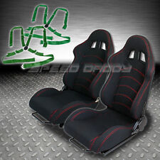 2 X UNIVERSAL TYPE-F1 BLACK WOVEN RACING SEATS+SLIDER+4-POINT CAMLOCK GREEN BELT
