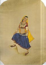 Indian Miniature Rajasthan Banjaran Girl Old Paper Colour Hand Painted Painting