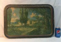 Vtg 1920-30's  A. D. Rahn Flower Garden Wall Landscape Barbola Frame Litho Print
