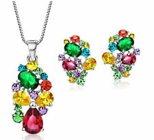 Sparkly Multi Colour AAA Zircon Necklace And Earrings Set Bridal Prom Mother Day