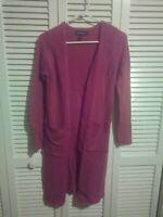 Women's Long Sweater Open Front Cardigan  Sz S Mauve Rose