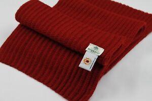Luigi Borrelli Napoli Deep Red 100% Cashmere Chunky Rib Knit Scarf Muffler 75x10