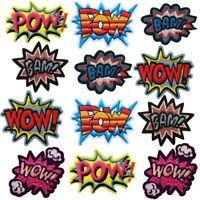 Pow Bam Wow Letter Sew on/Iron on Embroidered  Patch Diy Craft Clothes Applique