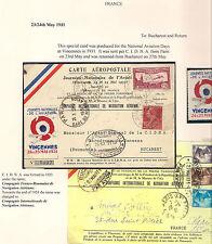 France 1931 Carte Aeropostale Bucarest Bucharest Roumania Romania Vincennes Air