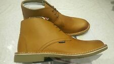 LAMBRETTA CANARY DESERT BOOTS MID Classic Leather Tan Lace Up UK size 11