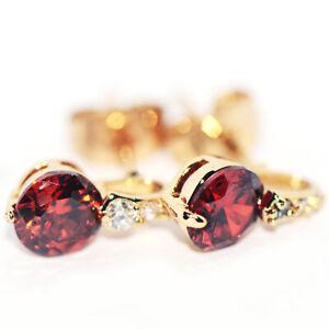 Small Girls Earrings Children Womens Earrings Red Ruby Stud Earings Jewelry Gold