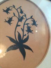 """Vtg Cut Paper Silhouette Flower Bell 7""""x6"""" Framed Black On Tan"""