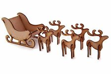 MDF Wooden Christmas Santa's Sleigh With Reindeer's / Stag Xmas Decoration