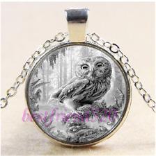 White Owl Photo Cabochon Glass Tibet Silver Chain Pendant Necklace#CB97