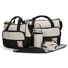 Changing Bags Baby Sky blue 5pcs Baby Nappy Changing Bag set Mummy Shoulder Handbag Diaper Bag&Gift