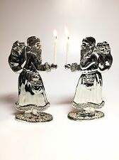 Santa Claus Holiday Candle Holders Silverplate Silver Plated Set of 2 Euc