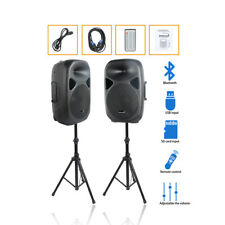 """STARAUDIO Pair 2500W 15"""" PA Powered Active Bluetooth Speakers System DJ Stands"""