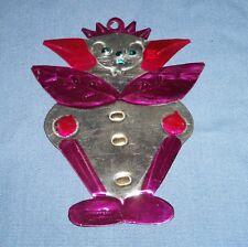 Vintage Mexican Folk Art Punched Pierced Tin Christmas Ornament Devil Clown