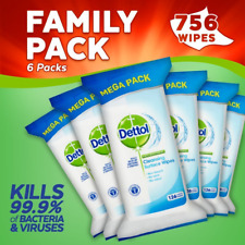 Dettol Anti-Bacterial Cleaning Surface Wipes, 126 Wipes, Pack of 6, Total 756 Wi