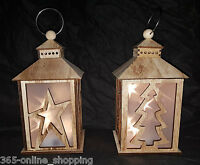 Rustic Light Up 3D LED Hologram Floating Star Wooden Christmas Candle Lantern