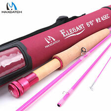 "Maxcatch 2WT 6'6"" 4Sec Medium-Fast IM8 Pink Fly Fishing Rod For Lady"
