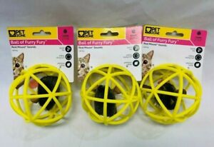 Pet Zone Ball of Furry Fury Cat Toy with Catnip, Yellow (Pack of 3)