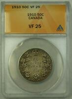 1910 Canada 50 Cents Half Dollar Silver Coin ANACS VF-25