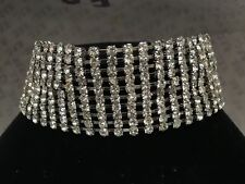 Large Bling Diamanté Silver Choker Necklace Party Prom Wedding Fashion Jewellery