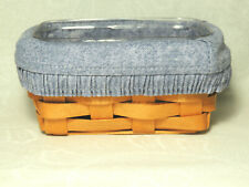 New ListingLongaberger Business Card Basket Combo w Chambray Blue Liner Protector 1997