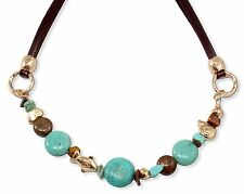 Exclusive Leather Necklace With Turquoise Gemstone & 24K Gold Plated Charms