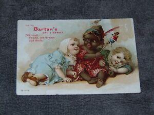 CIRCA 1900 BARTON'S SACRAMENTO ICE CREAM, CANDY STORE BLACK AMERICANA TRADE CARD