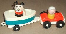 ***VINTAGE FISHER PRICE LITTLE PEOPLE PLAY FAMILY CAR & BOAT PLAYSET***HTF