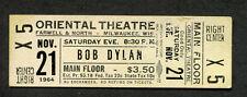 Original Bob Dylan 1964 Unused Full Concert Ticket Milwaukee WI Freewheelin