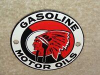 "VINTAGE RED INDIAN GASOLINE 4"" PORCELAIN METAL OIL SIGN CANADA MCCOLL FRONTENAC"