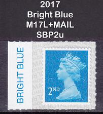 2017 Machin 2nd Class Bright Blue SG U2995 M17L+MAIL With Colour Margin SBP2u