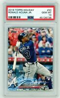 RONALD ACUNA 2018 Topps Holiday Rookie Card RC PSA 10 Gem Mint Braves #50 QTY