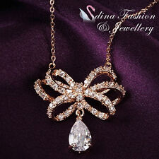 18K Rose Gold Plated Simulated Diamond Luxury Bow-knot Teardrop Cluster Necklace