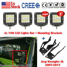 Mount Brackets+4pcs 3inch 18W Flood LED Light Bar Fit For 07-15 Jeep Wrangler JK