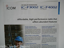 ICOM-F3002, IC-F4002 (GENUINE LEAFLET ONLY)..........RADIO_TRADER_IRELAND.