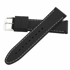 Hadley-Roma 22mm White Mens Stitched Silicone Diver Watch Band Strap 22mm MS3315