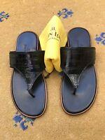 John Lobb Mens Shoes Sandals Flip Flop Black Leather UK 8 US 9 EU 42 RRP £1200