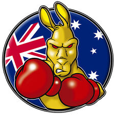boxing kangaroo new  VINYL DECAL  LAMINATED SIZE 90MM BY 90MM