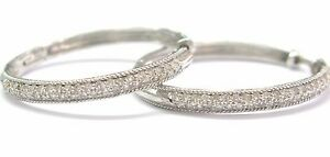 18KT Hoop Round Cut Diamond Earrings Solid White Gold .45CT F-G