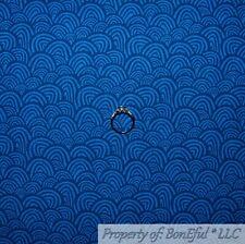 BonEful FABRIC FQ Cotton Quilt Navy Blue Tone Water Wave Sea Scallop Stripe Kid