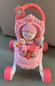 Fisher-Price Princess Stroll Along Baby Walker Dolls Pram + Doll Musical Lights