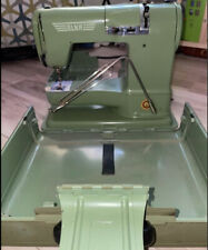 Vintage ELNA Portable Sewing Machine Green Swiss With Extras Same Day Ship